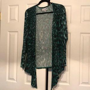 Green Leopard Open Drape Cardigan